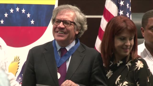 secretary general of the organization of american states luis almagro discusses the current crisis in venezuela with members of the exiled opposition... - doral stock videos and b-roll footage