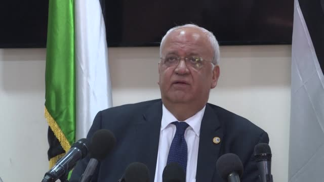 secretary general of the palestine liberation organisation saeb erekat reacts to the us decision to no longer call settlements illegal calling it... - palestine liberation organisation stock videos & royalty-free footage