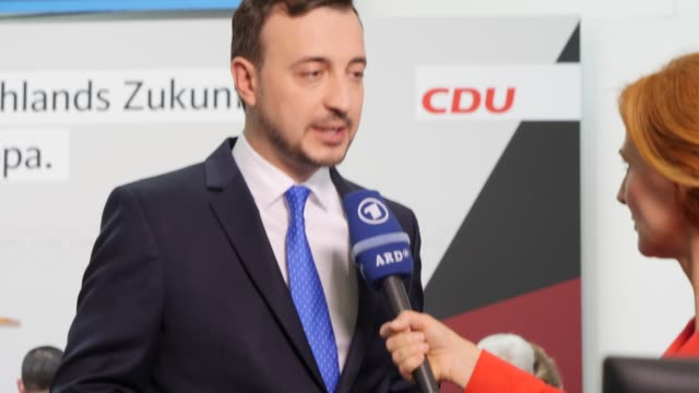 Secretary General Paul Ziemiak speak to the media after exit polls give the Christian Democrats 283% of the Germany vote on May 26 2019 in Berlin...