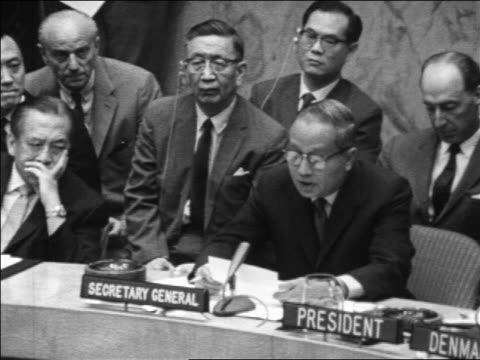 Secretary General U Thant speaking at UN Security Council meeting during Six Day War
