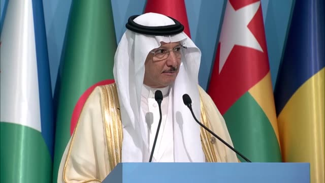 secretary general yousef bin ahmed alothaimeen speaks during a joint press conference with palestinian prime minister rami hamdallah and turkish... - 首脳会議点の映像素材/bロール