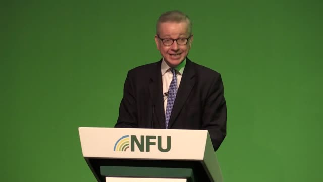 defra secretary michael gove addresses the national farmers union annual conference at the icc in birmingham insisting he will maintain food... - michael gove stock-videos und b-roll-filmmaterial
