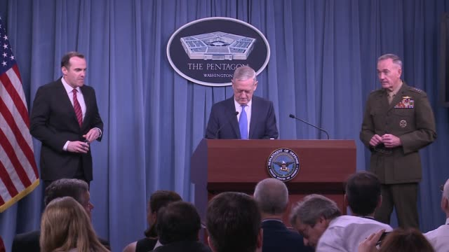 us secretary of defence james mattis us chair of the joint chiefs of staff general dunford and us special envoy on syria brett mcgurk await the... - joint chiefs of staff stock videos and b-roll footage
