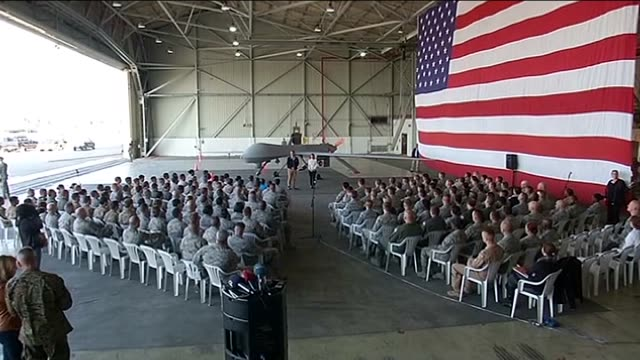 Secretary of Defense Ashton Carter delivers a speech to the pilots and military personnels during his visit to Incirlik Airbase in southern Turkey on...