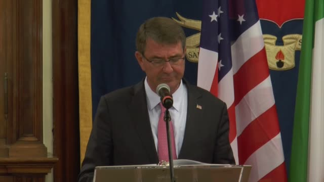 Secretary of Defense Ashton Carter holds a joint press conference with Italy's Defence Minister Roberta Pinotti after their meering in Rome Italy on...