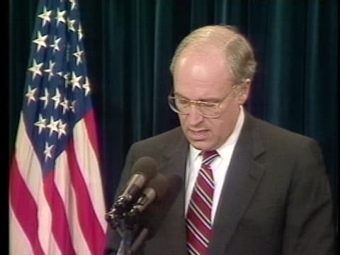 secretary of defense dick cheney warns about claiming victory too soon during the gulf war. - dick cheney stock videos & royalty-free footage