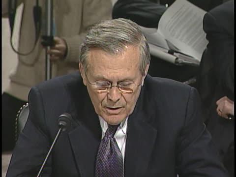 vídeos de stock e filmes b-roll de secretary of defense donald rumsfeld testifies before the 9/11 commission in washington, d.c. - ministério da defesa dos estados unidos