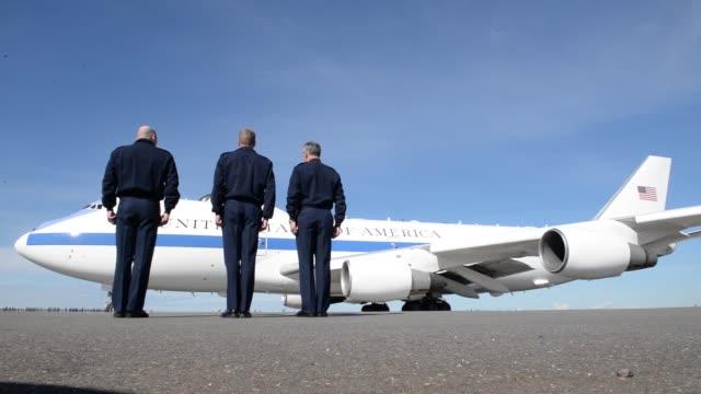secretary of defense james mattis and senator dan sullivan visit eielson air force base on june 25th 2018 - air force one stock videos & royalty-free footage