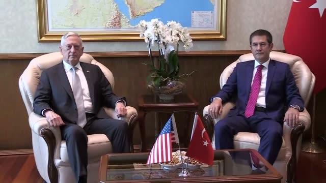 S Secretary of Defense James Mattis meets with Turkish National Defense Minister Nurettin Canikli at the Defense Ministry in Ankara Turkey on August...