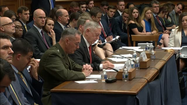secretary of defense james mattis reads prepared testimony at a hearing of the house armed services committee with respect to the fiscal 2018 budget... - ministero americano della difesa video stock e b–roll