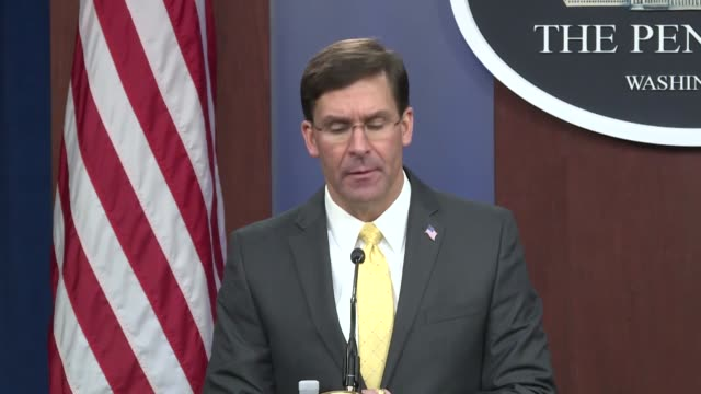 secretary of defense mark esper and britain's defense secretary ben wallace speak during a joint press conference after their meeting at the pentagon... - the pentagon stock videos & royalty-free footage