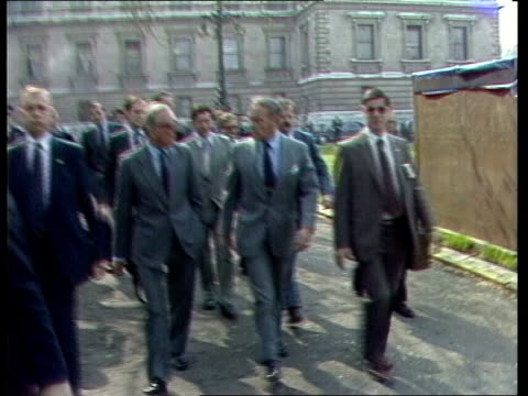 stockvideo's en b-roll-footage met us secretary of state alexander haig visit london foreign office ms haig and lord carrington out of foreign office cs haig pull out carrington cuts... - peter carington