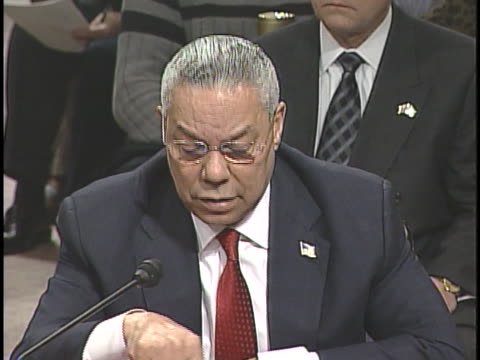 vídeos y material grabado en eventos de stock de secretary of state colin powell testifies before the 9/11 commission. - (war or terrorism or election or government or illness or news event or speech or politics or politician or conflict or military or extreme weather or business or economy) and not usa