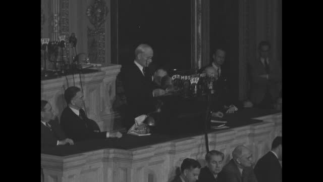 secretary of state cordell hull continues his address to a joint session of the us congress; sot hull re third moscow conference between the us,... - former soviet union stock videos & royalty-free footage