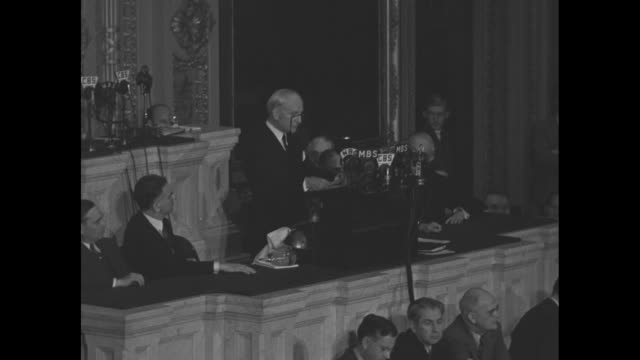secretary of state cordell hull continues his address to a joint session of the us congress sot hull re third moscow conference between the us... - joint session of congress stock videos and b-roll footage