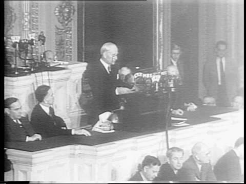 Secretary of State Cordell Hull enters the chamber gives highlights of Moscow conference to Congress / Hull calls Joseph Stalin a great statesman and...