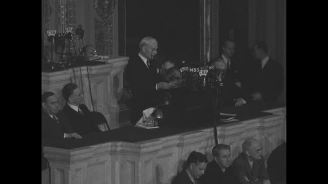 secretary of state cordell hull speaks before joint session of us congress as he begins his report on the third moscow conference between us england... - joint session of congress stock videos and b-roll footage