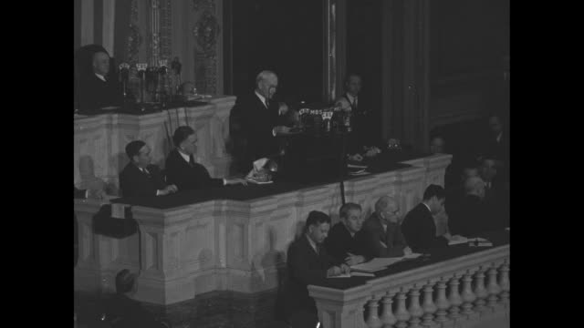 ws secretary of state cordell hull speaks before joint session of us congress sot hull re third moscow conference between the us england and the... - joint session of congress stock videos and b-roll footage