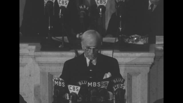 secretary of state cordell hull standing on rostrum reports to us congress about the third moscow conference from which he has just returned sot hull... - cordell hull stock videos and b-roll footage