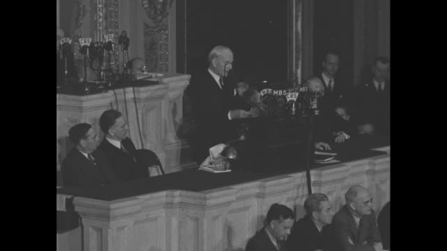 secretary of state cordell hull stands before bank of radio microphones as he addresses a joint session of congress about his attendance at the third... - cordell hull stock videos and b-roll footage