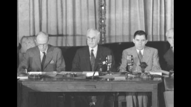 us secretary of state cordell hull wearing pince nez and seated at table reads welcome statement to dumbarton oaks conference attendees l to r... - cordell hull stock videos and b-roll footage