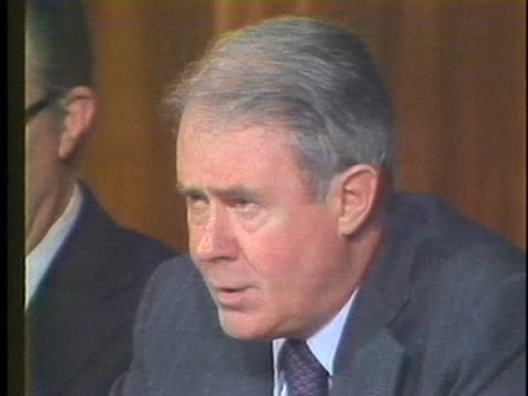 stockvideo's en b-roll-footage met secretary of state cyrus vance discusses economic sanctions in 1979 during the iranian hostage crisis - (war or terrorism or election or government or illness or news event or speech or politics or politician or conflict or military or extreme weather or business or economy) and not usa