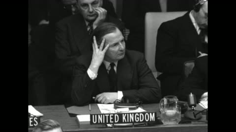 stockvideo's en b-roll-footage met secretary of state dean acheson, uk representative and secretary general of un gladwyn jebb, ussr foreign minister andrey vyshinsky at seats as they... - krishna menon