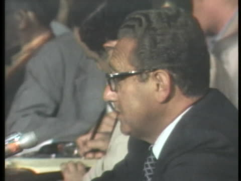 secretary of state designate dr. henry kissinger testifies at his senate confirmation hearing about the secret bombing of cambodia in 1969. - testimony stock videos & royalty-free footage