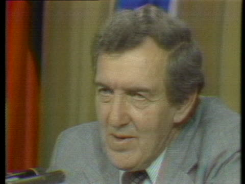 us secretary of state edmund muskie holds a press conference on the soviet invasion of afghanistan - (war or terrorism or election or government or illness or news event or speech or politics or politician or conflict or military or extreme weather or business or economy) and not usa video stock e b–roll
