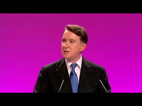 vídeos de stock e filmes b-roll de secretary of state for business lord mandelson tells delegates why 'labour government has never been more needed than now' during annual party... - conferência partidária