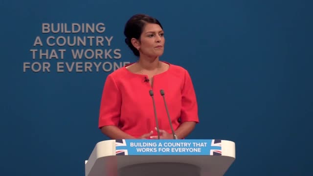 secretary of state for international development priti patel talks about her bid to cut wasted aid and says labour has not spoken out against abuses... - priti patel stock-videos und b-roll-filmmaterial