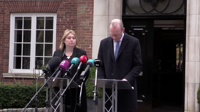 Secretary of State for Northern Ireland Karen Bradley and Irish deputy prime minister Simon Coveney brief the media at Stormont House