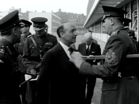 secretary of state for war john profumo arrives at the new knightsbridge army barracks for a tour - barracks stock videos & royalty-free footage