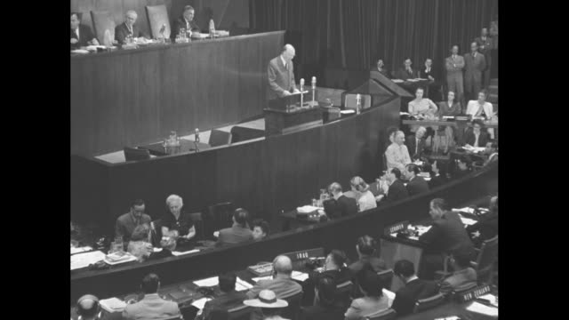 secretary of state george marshall standing at rostrum speaking about russian vetoes of un security council resolution regarding greek civil war /... - united nations general assembly stock videos & royalty-free footage