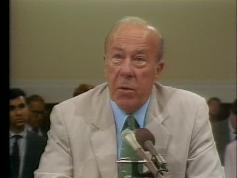 secretary of state george schultz testifies during the iran-contra hearings. - testimony stock videos & royalty-free footage