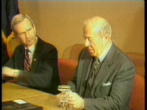 secretary of state george shultz and soviet foreign minister andrei gromyko meet at a conference table along with their delegates to talk about... - (war or terrorism or election or government or illness or news event or speech or politics or politician or conflict or military or extreme weather or business or economy) and not usa stock-videos und b-roll-filmmaterial