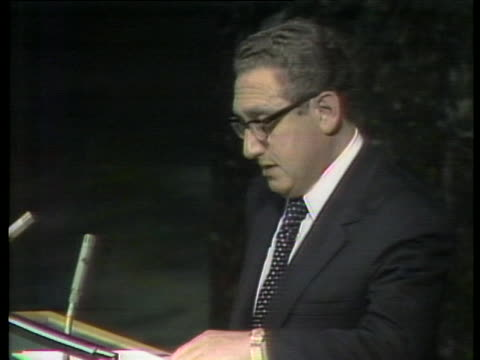 secretary of state henry kissinger approaches the podium at the world food conference in rome - (war or terrorism or election or government or illness or news event or speech or politics or politician or conflict or military or extreme weather or business or economy) and not usa video stock e b–roll