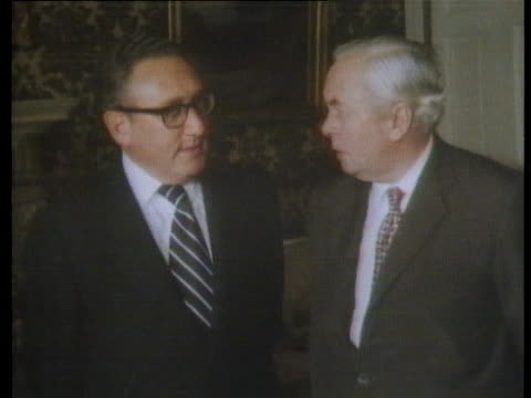 secretary of state henry kissinger meets with british prime minister harold wilson. - (war or terrorism or election or government or illness or news event or speech or politics or politician or conflict or military or extreme weather or business or economy) and not usa stock videos & royalty-free footage