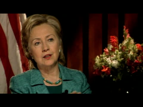 US Secretary of State Hillary Clinton comments on engagement of American government within Middle East peace agreement during interview Pakistan 30...