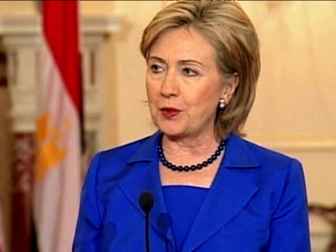 US Secretary of State Hillary Clinton comments on President Obama's position on Middle East conflict at press conference State Department Washington...