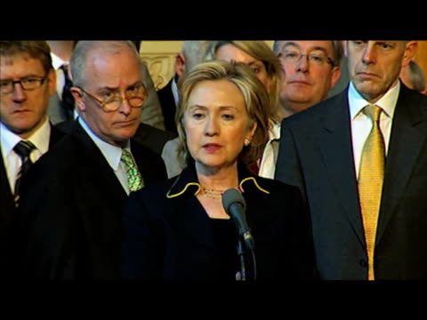 US Secretary of State Hillary Clinton comments on strategies for successful peace movement during press conference on her first official visit to...