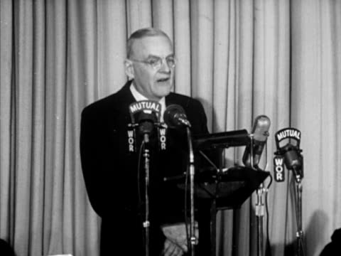 secretary of state john foster dulles standing behind mutual wor microphones, sot partial speech, 'communism pitted its youth... - 利他主義点の映像素材/bロール