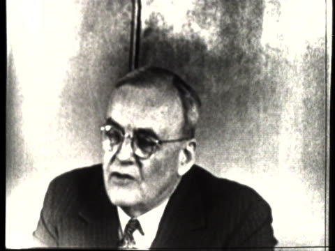 secretary of state john foster dulles states that he and the foreign ministers of france and great britain want to meet with the soviet foreign... - united states and (politics or government) stock videos & royalty-free footage