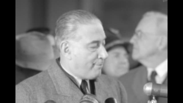 secretary of state john foster dulles steps away from microphones french prime minister rene mayer comes to microphones and speaks of gratitude to us... - indochina stock videos and b-roll footage