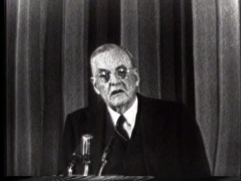 secretary of state john foster dulles talks about the negotiations with european countries to locate nuclear missile bases in their countries in... - (war or terrorism or election or government or illness or news event or speech or politics or politician or conflict or military or extreme weather or business or economy) and not usa stock videos & royalty-free footage