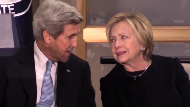 secretary of state john kerry and former secretaries of state hillary clinton colin powell and madeleine albright attend a reception celebrating the... - diplomacy stock videos and b-roll footage