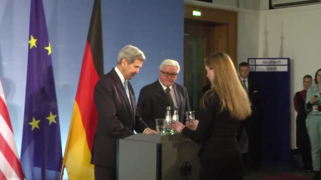 Secretary of State John Kerry and German foreign minister FrankWalter Steinmeier speak to media ahead of their meeting at the Federal Foreign Office...