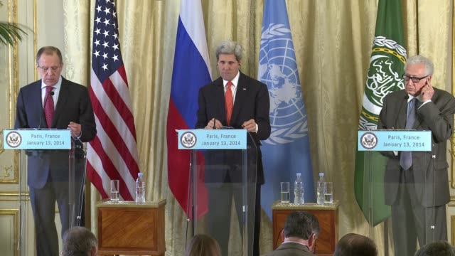 stockvideo's en b-roll-footage met us secretary of state john kerry and his russian counterpart sergei lavrov call for localised ceasefires in syria ahead of peace talks later this... - staakt het vuren