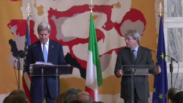 Secretary of State John Kerry and Italian Foreign Minister Paolo Gentiloni attend a joint press conference after a group meeting against Daesh in...