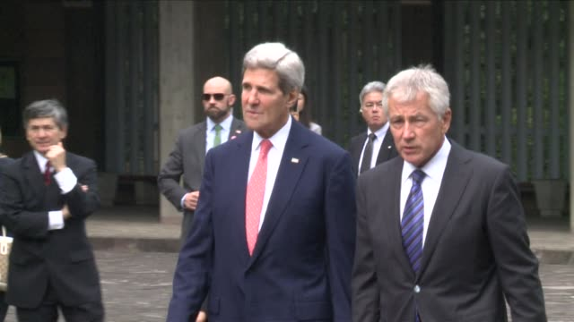 US Secretary of State John Kerry and US Secretary of Defense Chuck Hagel lay flowers at the Chidori ga Fuchi National Cemetery in Tokyo CLEAN Kerry...